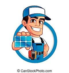 técnico, instalador, painéis, solar