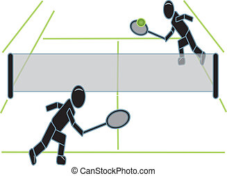 tênis, figuras, vara, tocando