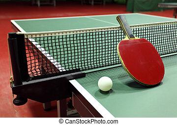 tênis, -, raquete, quipment, tabela, bola
