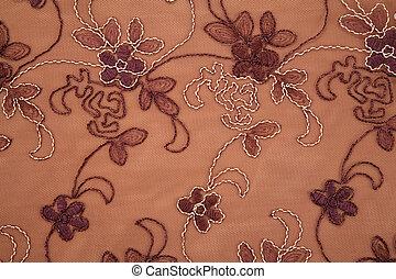 têxtil, marrom, flor, textura