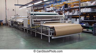 têxtil, teia, corte, automatically