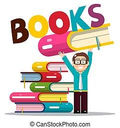 título, biblioteca, ou, livraria, livros, segurando, livro, homem