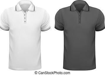 t-, homens, ilustração, shirts., vetorial, pretas, desenho, branca, template.