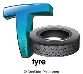 t, letra, pneumático
