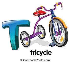 t, letra, triciclo