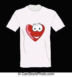 t-shirt, coração, vetorial, aquilo, ilustração