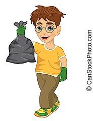 t-shirt, cute, lixo, menino, amarela, borracha, saco, verde, adolescente, segurando, luvas