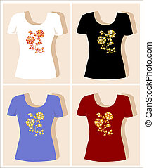 t-shirt, desenho, rosa