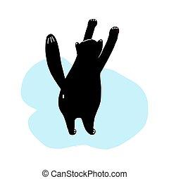 t-shirt, isolado, desenhado, pretas, ilustração, conceito, engraçado, gato, drawing.design, cima., vetorial, estica, ficar, branca, background.hand, cute, cat., impresso, cartaz, objetos, mão