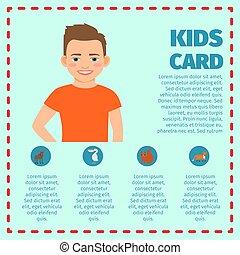 t-shirt, menino, infographic, cartão, laranja