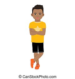 t-shirt, menino, pretas, amarela