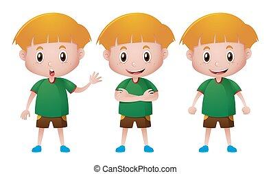 t-shirt, menino, verde, feliz