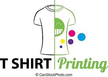 t-shirt, modelo, printing., logotype