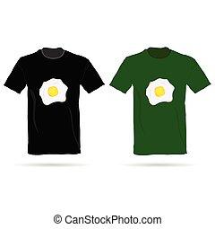 t-shirt, ovos, vetorial, ilustração
