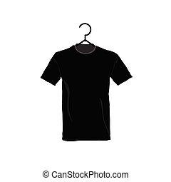 t-shirt, pretas, ilustração