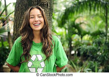 t-shirt, recicle, desgastar, floresta, ambiental, activista