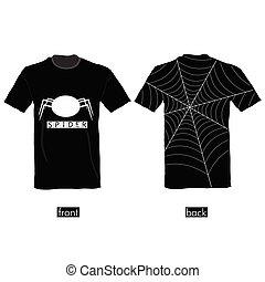 t-shirt, teia, vetorial, aranha, ilustração