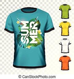 t-shirt, verão, flor, variation., cor, folhas, algum, tropicais, experiência., vetorial, desenho, modelo, feriado, roupa, transparente