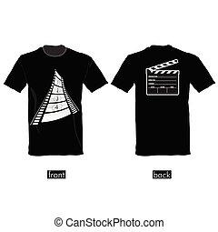 t-shirt, vetorial, fita, película, ilustração