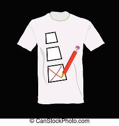 t-shirt, vetorial, tiquetaque, ilustração