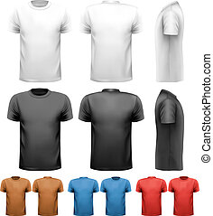 t-shirts., coloridos, desenho, vector., macho, template.