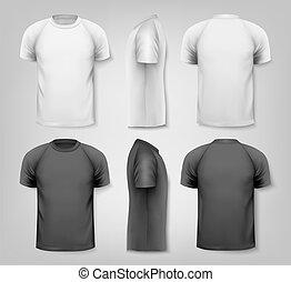 t-shirts., coloridos, vetorial, desenho, macho, template.