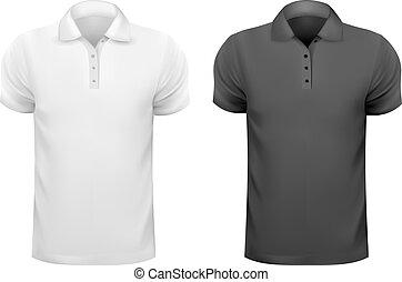 t-shirts., homens, ilustração, vetorial, pretas, desenho, branca, template.
