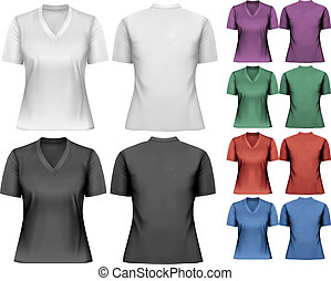 t-shirts., template., femininas, vector., desenho
