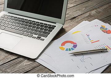 tabela, laptop, financeiro, gráficos