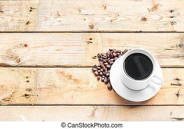 tabela madeira, café, xícara branca