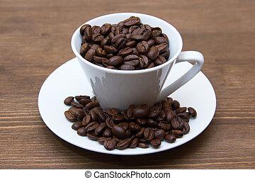 tabela madeira, feijões café, copo