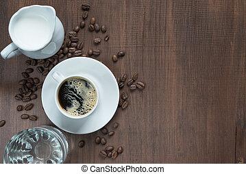 tabela madeira, xícara café