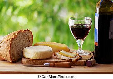 tabela, pão, vermelho, queijo, vinho
