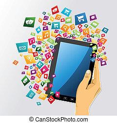 tabuleta, app, icons., mão, pc, human, digital