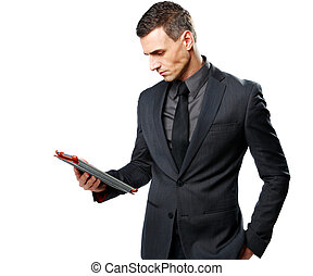 tabuleta, isolado, computador, fundo, homem negócios, usando, branca