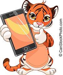 tabuleta, tiger, cute, segurando
