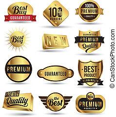 tag, etiqueta, ouro, set., emblemas, adesivo