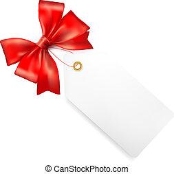 tag presente, vendas, ilustração, vetorial, bow., vermelho