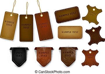 tags., jogo, etiquetas, couro, grande