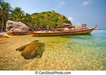 tailandês, bote, lagoa