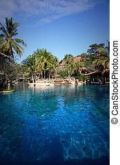 tailandês, resort.