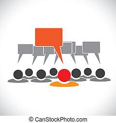 talking(speech, conceito, &, graphic-, empregados, vetorial, bolha, líder