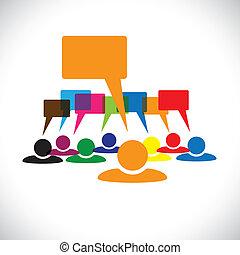talking(speech, conceito, &, graphic-, trabalhadores, vetorial, bubbles), líder