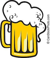 tankard, cabeça, cerveja, espumoso