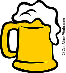 tankard, cerveja, transbordante, espumoso