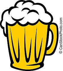 tankard, dourado, cerveja, cheio, espumoso