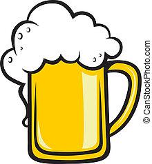 tankard, dourado, cerveja, espumoso