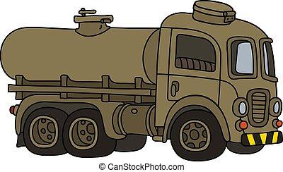tanque, caminhão velho, engraçado, militar