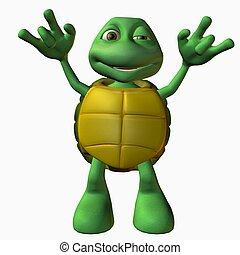 tartaruga, menino, -rock