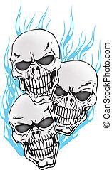 tatuagem, 3, crânios, chamas